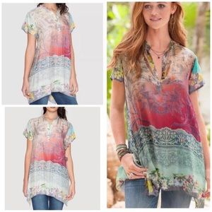 3c05f712b8611 Johnny Was Tops - Johnny Was Nellis Floral Ombré Printed Silk Tunic